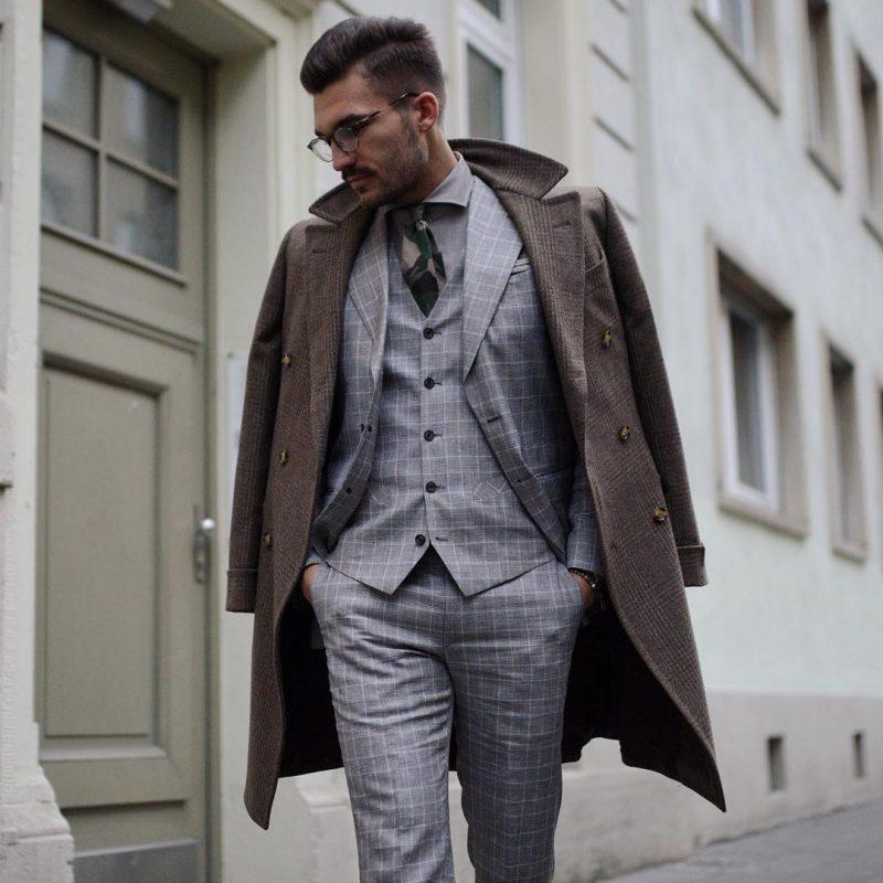 Brown wool overcoat, checked grey suit, vest jacket 1