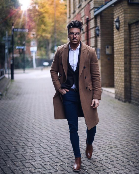 Camel overcoat, white shirt, vest jacket, brown Chelsea boots 1