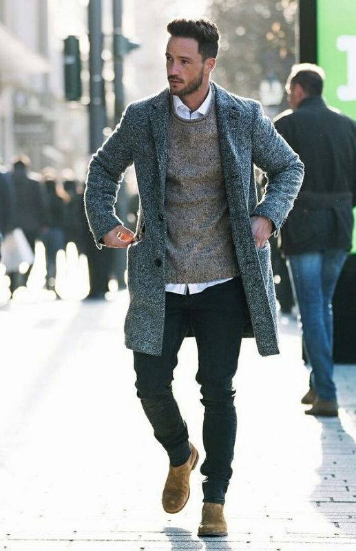 Grey wool overcoat, white shirt, grey sweater, suede Chelsea boots 1