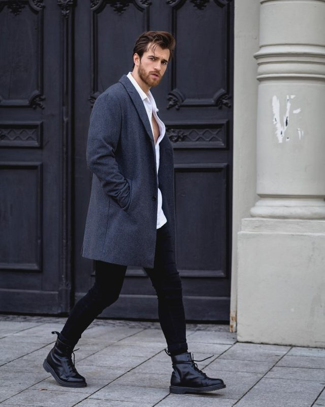 Grey overcoat, white button down shirt, black jeans, leather boots 1