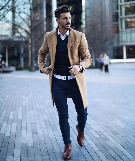 Camel overcoat, white shirt, brown leather chukka boots 1