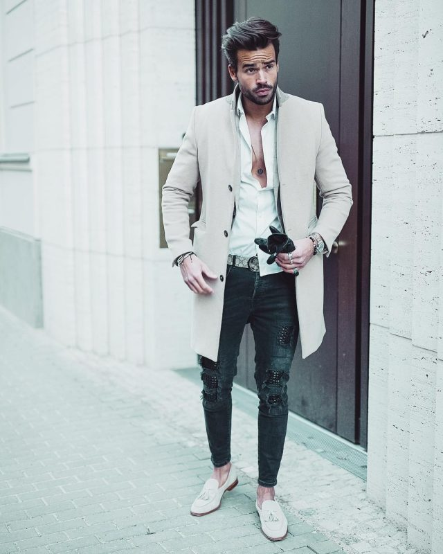 Beige overcoat, white button down shirt, jeans, loafers 1