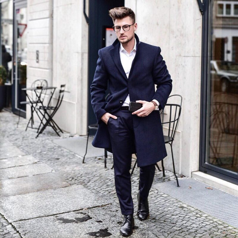 Blue overcoat, white shirt, blue suit pants, leather derby shoes 1