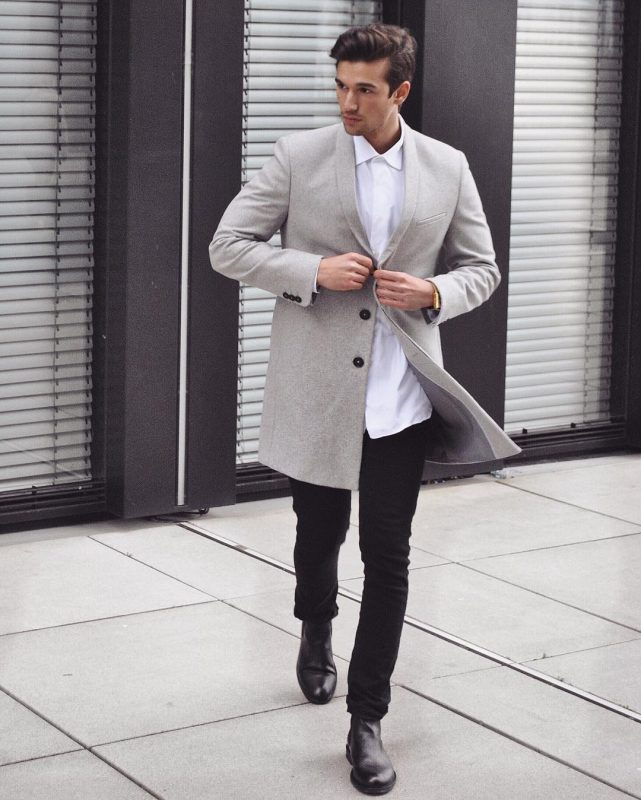 Grey overcoat, white button up shirt, black leather Chelsea boots 1