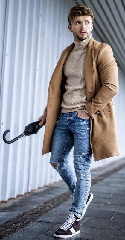 Camel overcoat, tan turtleneck sweater, sneaker 1