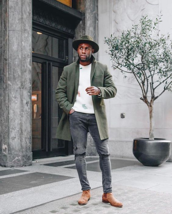 Green overcoat, white sweater, fedora hat, brown suede Chelsea boots 1