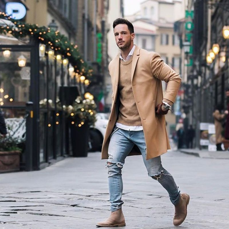 Camel overcoat, camel sweater, white shirt, suede Chelsea boots 1