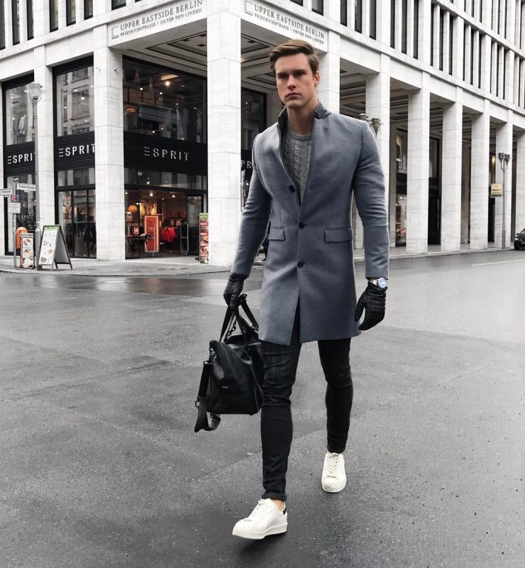 Charcoal grey overcoat, grey sweater, leather gloves, white sneaker 1