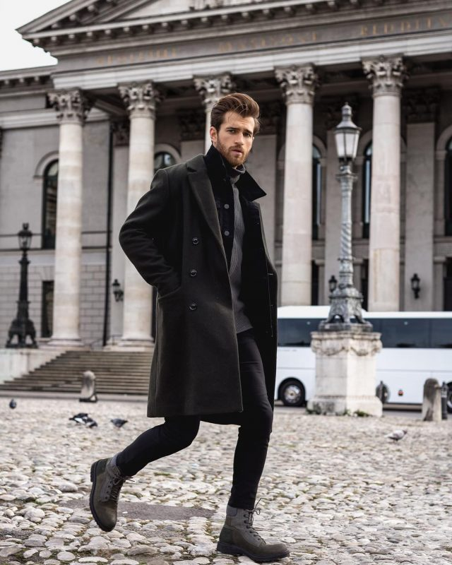 Black overcoat, grey overcoat, black jeans, boots 1