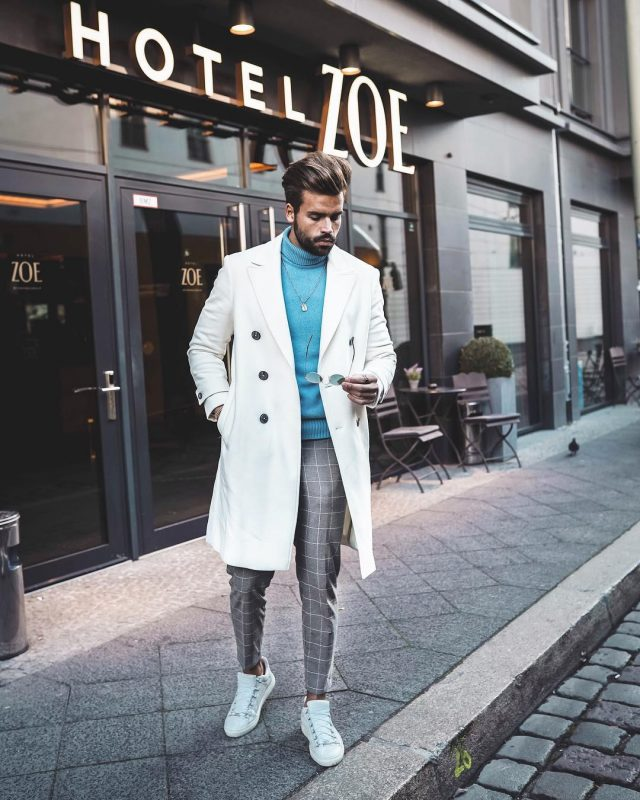 White overcoat, ocean blue sweater, checked suit pants 1
