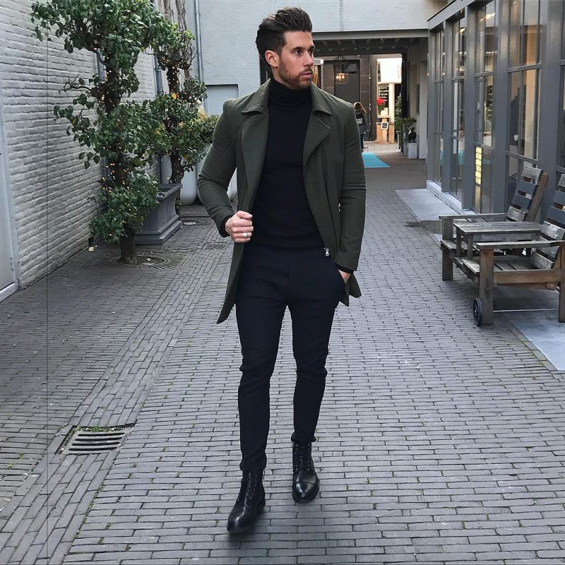 Dark green overcoat, black sweater, suit pants, leather boots 1