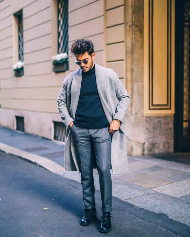 Grey overcoat, dark blue turtleneck t-shirt, wool suit pants 1