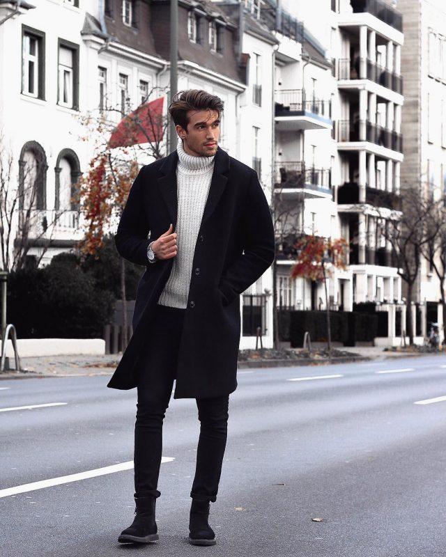 Black overcoat, white sweater, black jeans 1