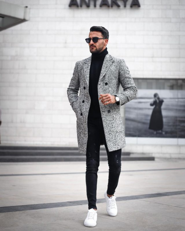 Grey overcoat, black turtleneck t-shirt, jeans, white sneaker 1