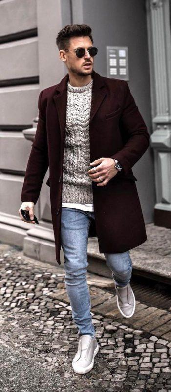 Burgundy overcoat, grey sweater, grey sneaker 1