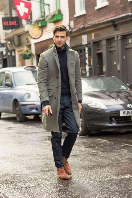 Olive green overcoat, blue sweater, grey suit pants 1