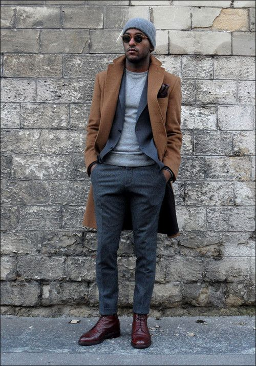 Camel overcoat, grey wool suit, light grey sweater 1