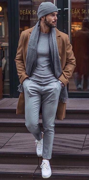 Camel overcoat, grey t-shirt, suit pants, scarf, beanie hat 1