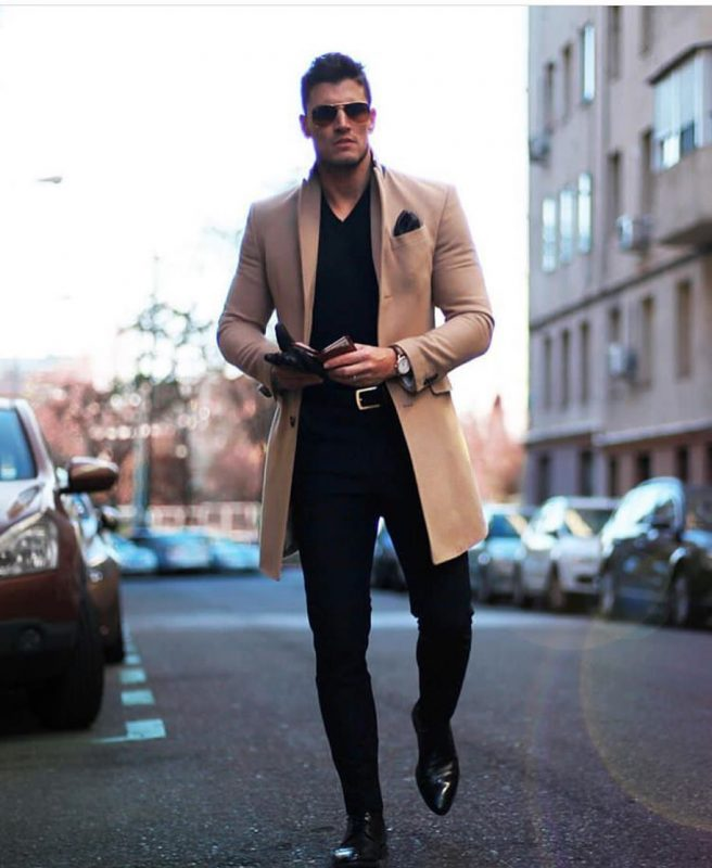 Camel overcoat, black t-shirt, suit pants, leather dress shoes 1