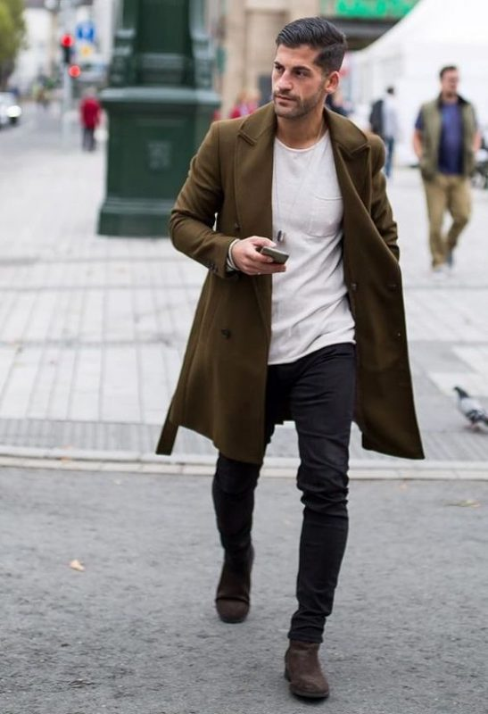 Olive overcoat, white t-shirt, black jeans 1