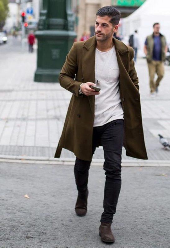 Olive overcoat, white t-shirt, black jeans 1
