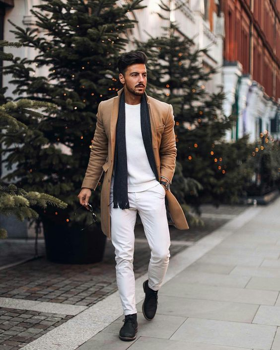 Camel overcoat, white sweater, chinos, black scarf, sneaker 1
