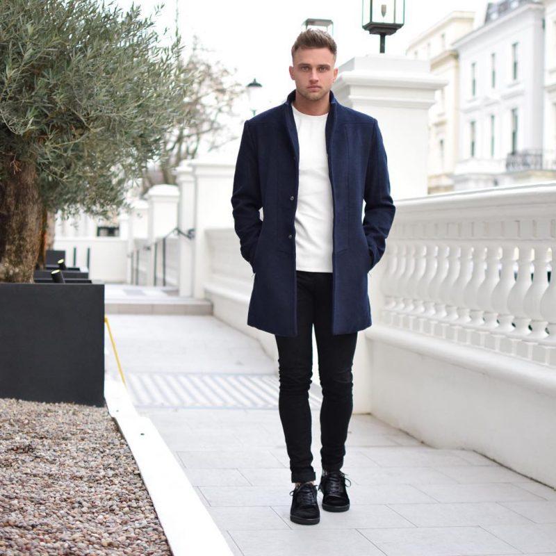 Blue overcoat, white t-shirt, black jeans, sneaker 1
