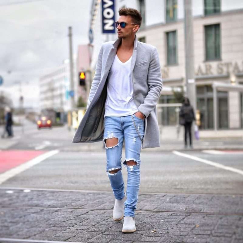 Grey overcoat, white v-neck t-shirt, blue ripped jeans, suede Chelsea boots 1
