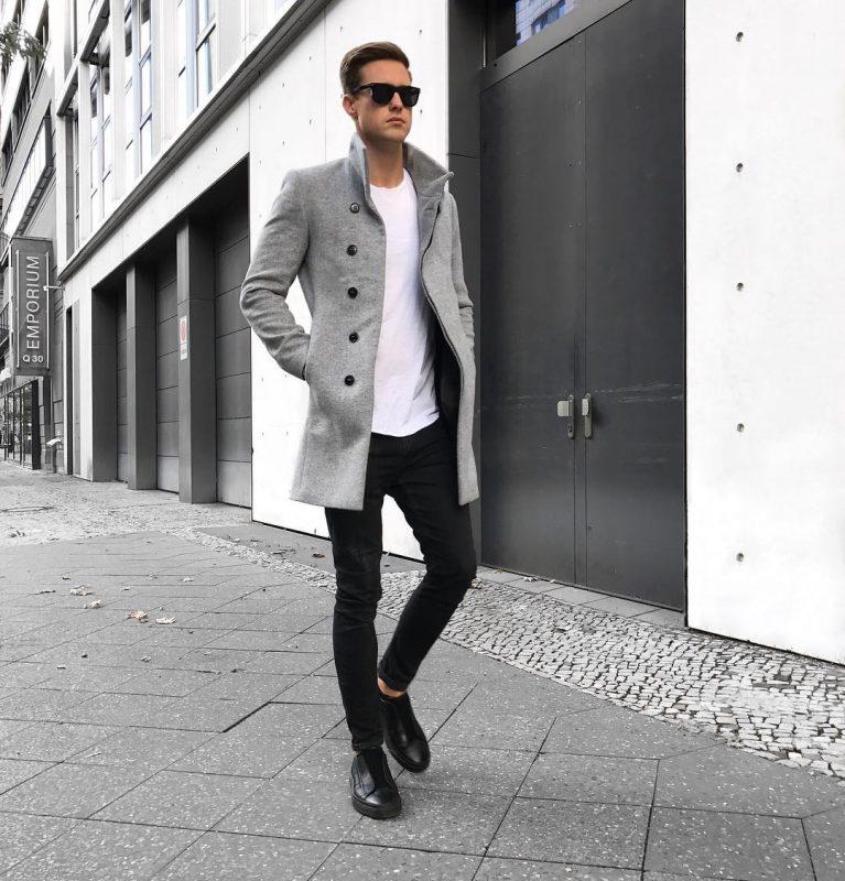 Grey overcoat, white t-shirt, black jeans, sneaker 1