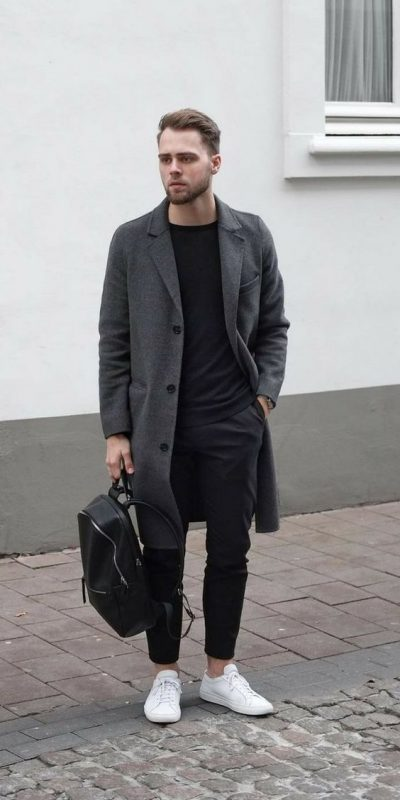Charcoal grey overcoat, black t-shirt, suit pants, white sneaker 1