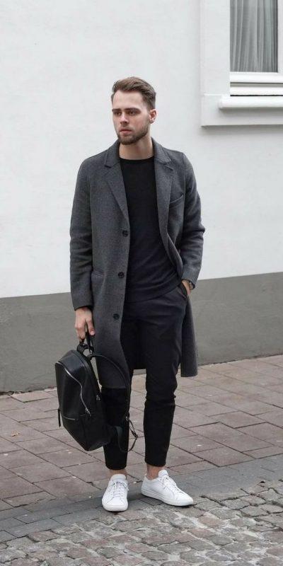Charcoal grey overcoat, black t-shirt, suit pants, white sneaker 1