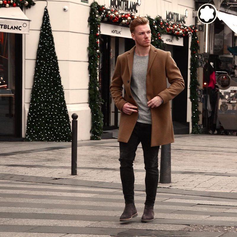 Dark brown overcoat, grey t-shirt, black jeans 1