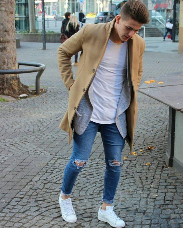 Camel overcoat, white t-shirt, blue jeans, white sneaker 1