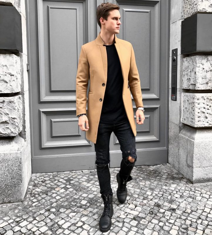 Camel overcoat, black t-shirt, jeans, leather boots 1