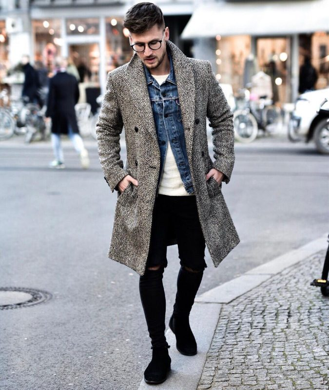 Grey wool overcoat, denim jacket, white t-shirt, black jeans 1