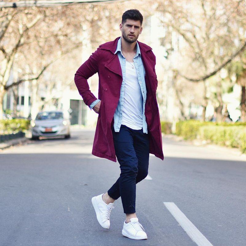 Maroon overcoat, denim overshirt, white singlet, blue chinos 1