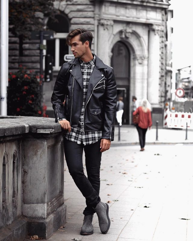 40 mens winter work outfit styles with winter boots. Grey suede Chelsea boots, leather biker jacket, checked shirt 1