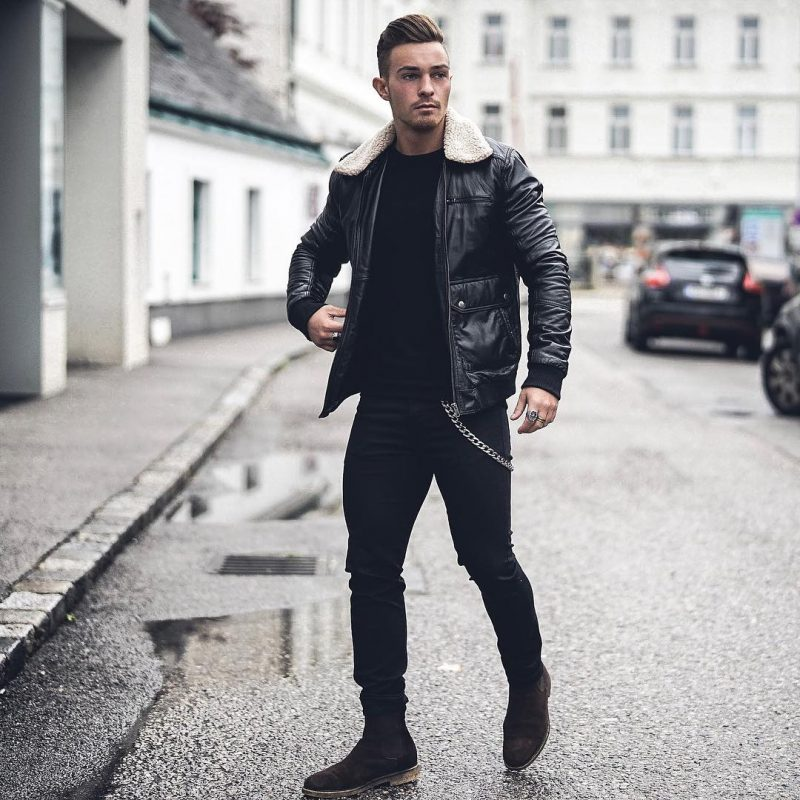40 mens winter work outfit styles with winter boots. Suede Chelsea boots, shearling collar bomber jacket, black t-shirt 1