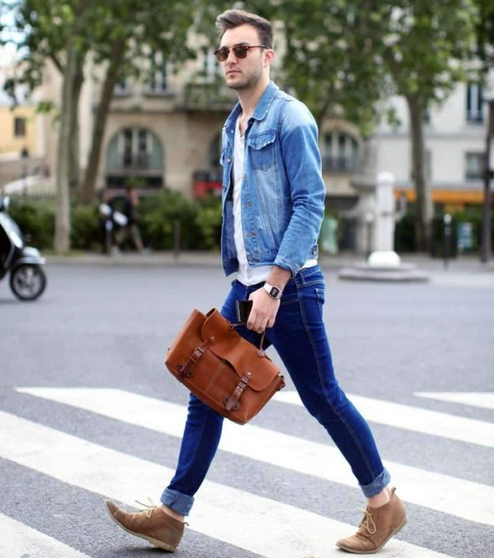40 mens winter work outfit styles with winter boots. Brown chukka boots, denim jacket, jeans, white t-shirt 1