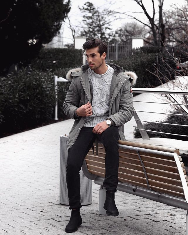40 mens winter work outfit styles with winter boots. Chelsea boots, parka jacket, grey sweater, black jeans 1
