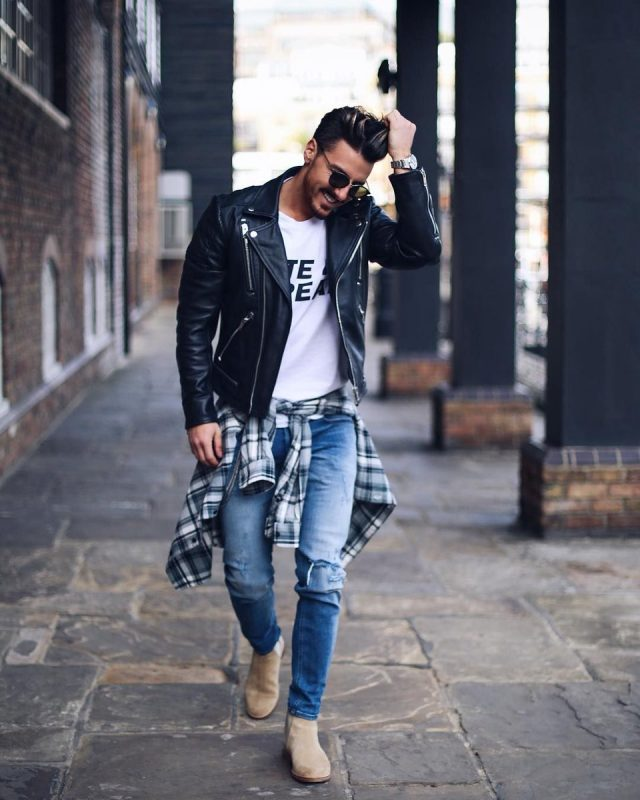 40 mens winter work outfit styles with winter boots. Beige suede Chelsea boots, leather biker jacket, white t-shirt, jeans 1