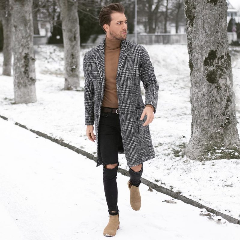 40 mens winter work outfit styles with winter boots. Tan suede Chelsea boots, checked overcoat, brown turtleneck sweater 1