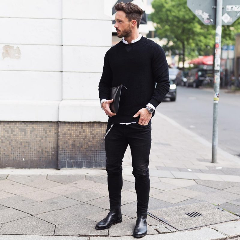 40 mens winter work outfit styles with winter boots. Leather Chelsea boots, black sweater, white shirt, black jeans 1