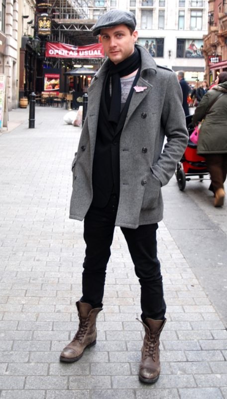 40 mens winter work outfit styles with winter boots. Dark brown cap toe boots, grey peacoat, black jeans 1