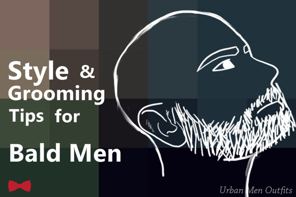 Featured image for this article. On the left is text that says style & grooming tips for bald men. On the right is the side view of bearded bald man