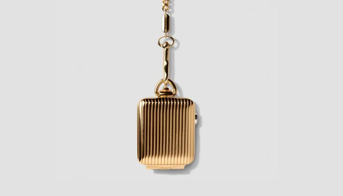 Bucardo Apple pocket watch - gold pinstripe design